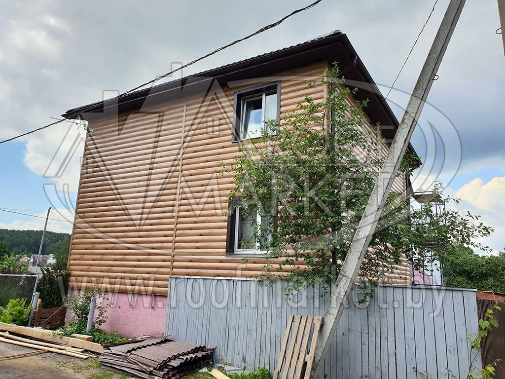 Реконструкция старой кровли с обшивкой фасада металлическим блок-хаусом