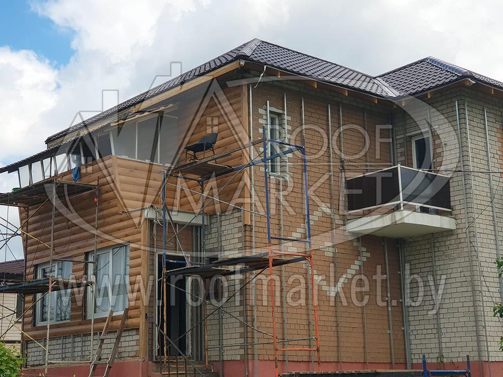 обшивка фасада металлическим блок-хаусом
