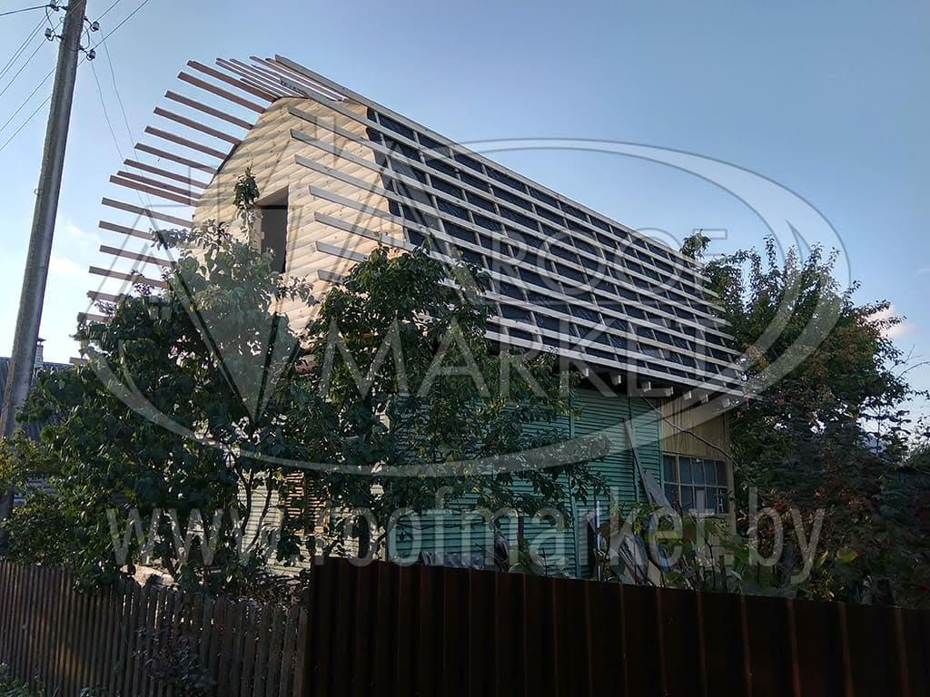 Реконструкция кровли. Монтаж мансардной кровли из Металлочерепицы Norman (Монтеррей) с обшивкой фасада блок-хаусом