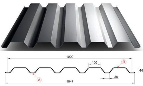 Технические характеристики Металлопрофиль C-44