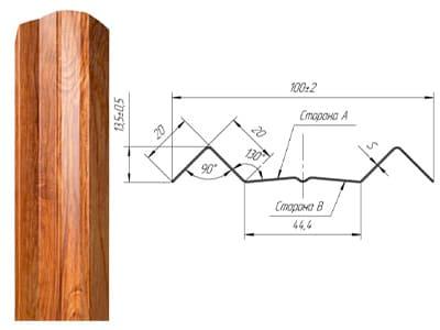 Технические характеристики М-образный фигурный штакетник Grand Line