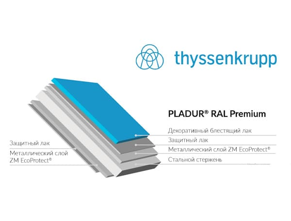 Pladur RAL Premium производства Blachotrapez  производства Thyssenkrupp (Германия)