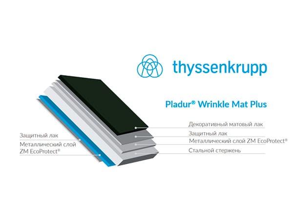 Pladur Wrinkle Mat Plus производства Blachotrapez  производства Thyssenkrupp (Германия)